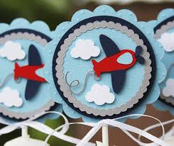 airplane baby shower decorations airplane toppers cupcake toppers airplane baby shower airplane