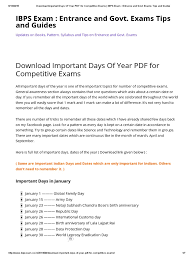 download important days of year pdf for competitive exams ibps