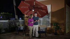 Patio Umbrella Led Lights by Atleisure 9 U0027 Turn 2 Tilt Patio Umbrella W 52 Solar Led Lights