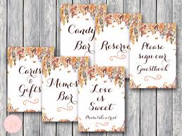 Wedding Table Signs Autumn Leave Wedding Table Signs