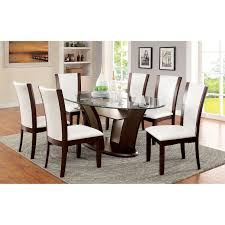 furniture of america lavelle 7 piece tempered glass top dining
