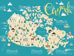 Map Of Canada by Illustrated Map Of Canada Stock Vector Art 627370578 Istock