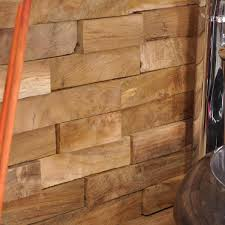 parement bois mural parement de salle de bain revêtement de mur en bois teck