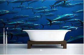 wall mural sea fish modern 3d blue wallpaper livingroom sofa