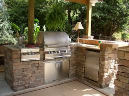outdoor kitchen ideas for small spaces rustic outdoor kitchen ideas brown wood kitchen cabinet grey high
