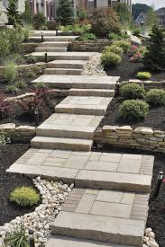 perfect walkway for a sloping yard using pavers brick and