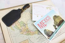 silver and gold typography wedding invitation mexico
