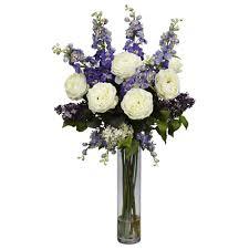 Artificial Flower Arrangement In Vase 31 In H White Hydrangea Silk Flower Arrangement 1221 Wh The