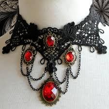 vintage lace necklace images Vintage gothic victorian lace red gem chocker necklace j12037 jpg