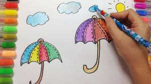 how to draw umbrella and coloring page learn to color for kids