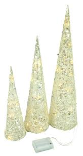set of 3 glittered white cone trees with warm white led lights