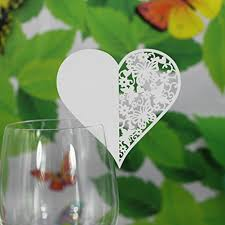 50pcs wedding table paper card escort name card wine glass card