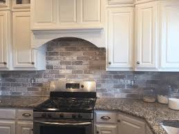 Oven Backsplash Plain White Wooden Kitchen Cabinet Brown And Black Smooth Rock
