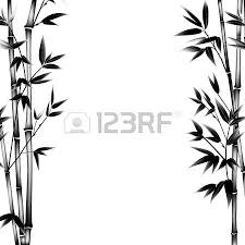 White Decorative Branches Ink Paint Bamboo Bush Decorative Bamboo Branches Card With