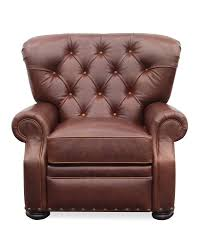 Sinclair Saddle Cabinets by Sinclair Push Back Recliner In Tufted Tobacco Brown Leather By