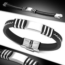 black bracelet rubber images Black rubber celtic twisted cable wire bracelet plus stainless jpg