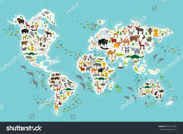 Seas Of The World Map by Cartoon Animal World Map Children Kids Stock Vector 297273989