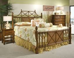 bedroom rattan bedroom furniture with pillows and cowhide rug for