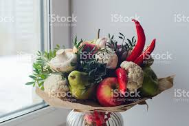 fruits bouquet bouquet of fruits vegetables and mushrooms stock photo more