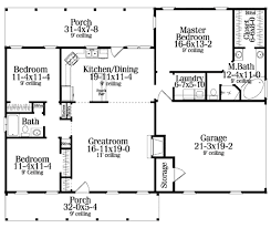 southern style house plan 3 beds 2 baths 1492 sq ft plan 406
