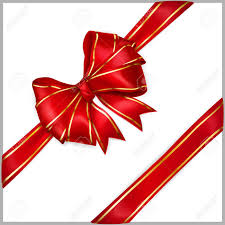 bow of wide ribbon with diagonally ribbons with golden strips