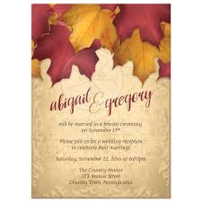 reception only invitations only invitations rustic burgundy gold autumn leaves