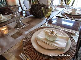 Table Setting by Calypso In The Country Festive Fall Table Setting With White Pumpkins
