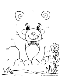 teddy bear dot to dot game coloring pages hellokids com