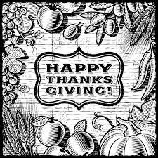 thanksgiving retro card black and white stock vector illustration