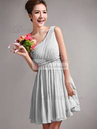 silver bridesmaid dresses a line one shoulder draped silver bridesmaid dresses