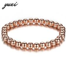 simple beads bracelet images Simple beads women men bracelet rose gold silver black elastic jpg