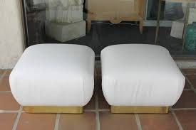 White Leather Ottoman Pair Of White Leather Ottomans By Marge Carson For Sale At 1stdibs