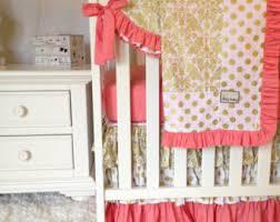 blush pink and coral crib bedding pink gold nursery