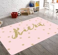 Pink Gold Bedroom Personalized Rug Pink And Gold Room Decor Playroom Rug Pink