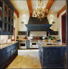 Blue Kitchen Cabinets Traditional Rustic Kitchen Design Ideas With Beige Stone