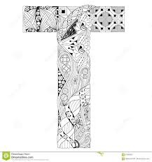 letter t for coloring vector decorative zentangle object stock