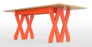 double cross extending console to dining table oak u0026 orange