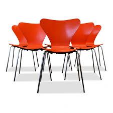 Arne Jacobsen Dining Chairs Arne Jacobsen Model 3107 Orange Dining Chairs 66452