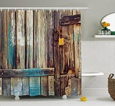 amazon com rustic shower curtain by ambesonne aged shed door