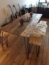 wooden table and bench reclaimed wood dining table and x2 benches with hairpin legs free