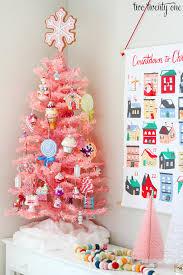 small pink christmas tree modern retro pink christmas