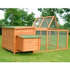 amazon com pawhut deluxe wooden chicken coop with backyard