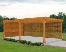 red cedar vintage classic free standing pergolas pergolas by 16 x 24 cedar 2 beam pergola shown with cedar stain sealer one solid wall and one lattice wall all options available in the next step of the design
