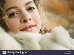 Furry Blanket Teen Under Furry Blanket Smiling At Camera Close Up Stock