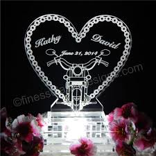 motorcycle wedding cake topper lighted motorcycle chain heart acrylic wedding cake topper