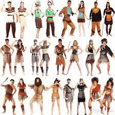 African Halloween Costumes Men Women African Original Indian Savage Costume Wild Cosplay