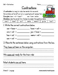 contraction worksheet with answer key free printables