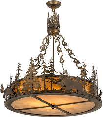 Inverted Pendant Lighting Meyda 98742 Moose At Dusk Country Antique Copper Drum