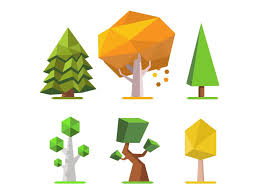 low poly trees 2d low poly 2d and 3d
