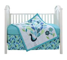 amazon com peacock blue 3 piece baby crib bedding set by